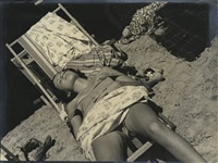 woman sunning gerself in deck chair by mehemed fehmy (dr.) agha