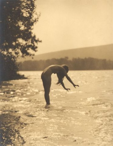 female nude at riverside by james abbe
