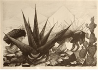 mexican peasants working (maguayes y nopales) by josé clemente orozco