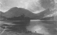 stone castle overlooking loch and highlands by james alfred aitken