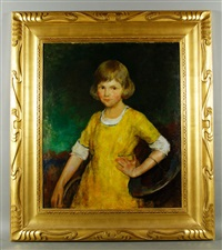 girl in the yellow dress, portrait of joan becker by charles webster hawthorne