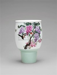 紫藤燕 (sparrows amid wisteria bottle) by jiang jincheng