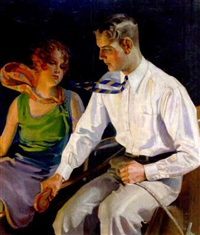 advertisement: a young man and woman in a boat by percy e. anderson