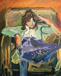 girl in blue skirt by geer morton