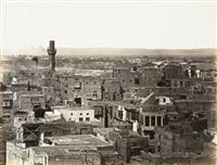 haupt-ansicht von cairo, von der citadelle, linke seite (+ partie von cairo, gesehen vom minaret der moschee touloun; 2 works) by wilhelm hammerschmidt