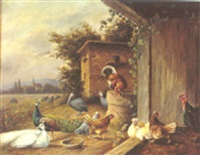 a barnyard scene with peacocks and fowls by alfred hofmann