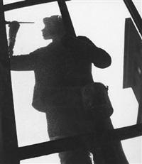 man painting outside window by ingrid autenrieth
