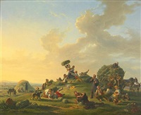 numerous figures merry-making at harvest time by jean alphonse roehn