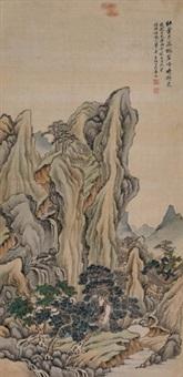 碧峰挂泉 立轴 设色绢本 by jiang jun