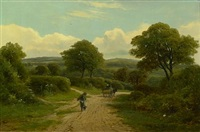 a rustic landscape with figures on a path by william (will.) anderson