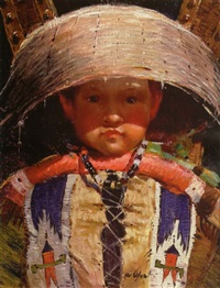 an indian boy in a cradle by walter ufer