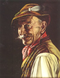 a portrait of an old man in bavarian costume by inge wolfle
