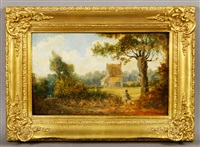 landscape with man by a fence by george stubbs