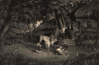 a family outside a cottage preparing for the departure by gustav reinhold