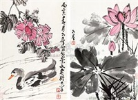 花鸟 (两轴) (2 scrolls; various sizes) by jiao kequn