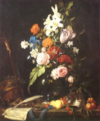 a still life with flowers in a vase and fruit, a conch and a writing quill on a ledge by jan jansz heem the younger