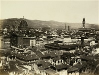 view of florence (+ side portal of florence cathedral; 2 works) by fratelli alinari