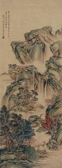 明人诗意图 立轴 设色绢本 by zhang zongcang