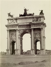 view of arco della pace, milan (+ 2 others; 3 works) by pompeo pozzi