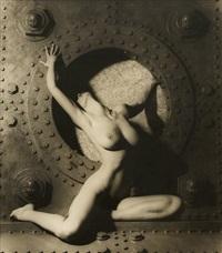 female nude in machine room by günter blum