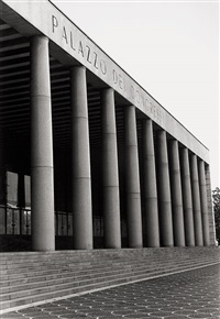 group of architectural views, italy: colonia marina di chiavari; palazzo dei congressi, rome; lingotto fiat, turin (3 works) by günther förg