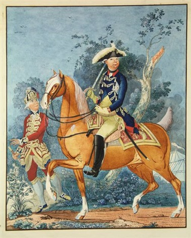 equestrian portrait of prince william v with footman by isaac lodewijk de la fargue van nieuwland