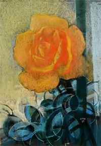 gelbe rose by fritz krebs