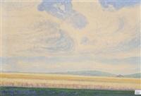 landschaft mit lavendelfeld by albert trachsel