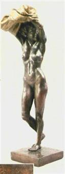 stehende weibliche aktfigur mit seitlich geneigtem haupt, sich entkleidend by costanzo mongini