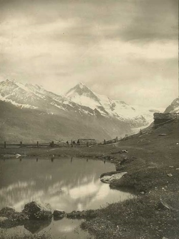 blick über einen kleinen weiher auf die alpen by antoine mazel