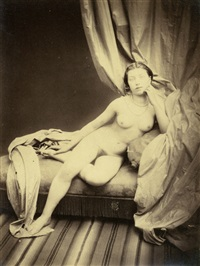 reclining female nude on chaise longue by joseph auguste belloc