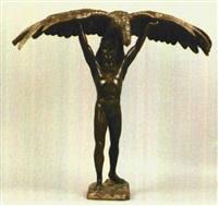 stehender jüngling, über seinem kopf einen prachtvollen adler mitt gespreizten flügeln tragend by höfmann