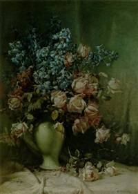 a floral still life with roses by william hubacek