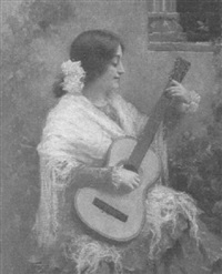 woman playing guitar by antonio torres