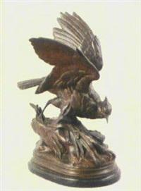 ein an einem mit schilf und wasserpflanzen bestandenen teichufer stehender wasservogel, nach beute suchend by alphonse alexandre arson