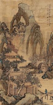 拟大痴道人山水 立轴 设色绢本 by lan ying