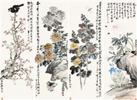 花鸟 (birds and flowers) (4 works) by chen banding and qi baishi