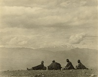 quechuas resting in the highlands, bolivia; mount illimani, mururata and taquesi, bolivia (2 works) by robert m. gerstmann