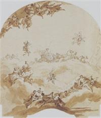 apoll in sienem wagen - wandgemälde-entwurf by giuseppe valeriani