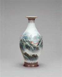 粉彩山水瓷瓶 (landscape) by xu yafeng