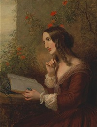 a lady painting in her album by joseph severn