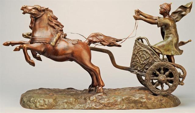 ein auf seinem streitwagen stehender römischer wagenlenker sein kraftvoll voraus galoppierendes pferdegespann antreibend by william morris hunt