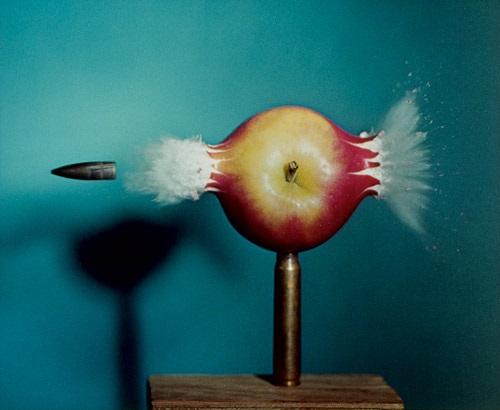 .30 bullet piercing an apple by harold eugene edgerton