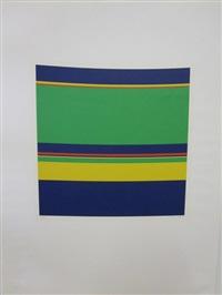 konkrete komposition in grün, blau, gelb und rot by heinz müller-tosa