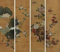 花鸟 立轴 四屏 设色绢本 (in 4 parts) by jiang tingxi