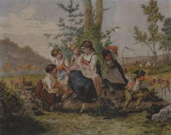 spielende kinder auf der weide by johann salomon hegi
