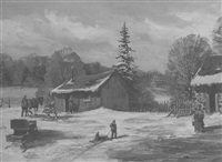 mennonite farm activity in winter by peter etril snyder