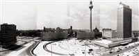 panoramic view of alexanderplatz, berlin. june 15, 1970 (4 joined works) by heinz lieber