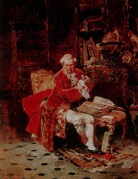 a gentleman resting in his study with a book by raphael von ambros