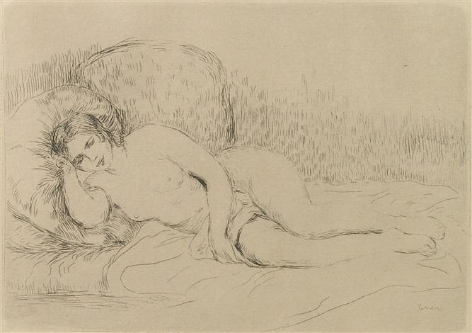 femme couché tournée à gauche by pierre auguste renoir